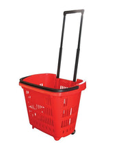Load image into Gallery viewer, Red Plastic Rolling Hand Basket With Carrying Handle