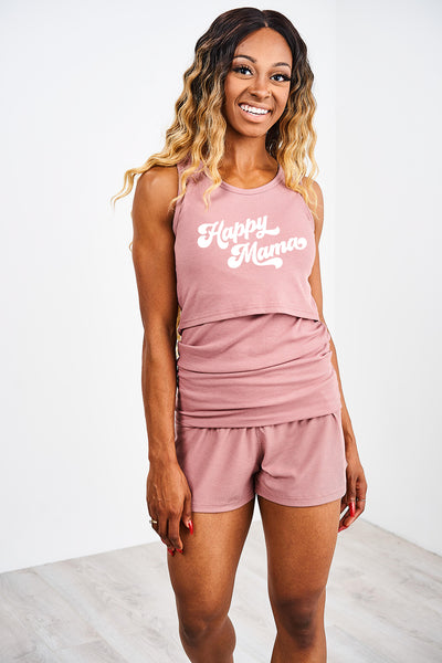 "Latched Mama ""Happy Mama"" Tank and Short Lounge Set"