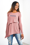 "Latched Mama Ribbed Asymmetrical ""Mama"" Nursing Tunic-Last Chance"