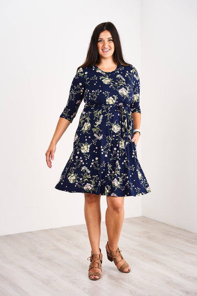 Latched Mama 3/4 Sleeve Swing Nursing Dress - Last Chance