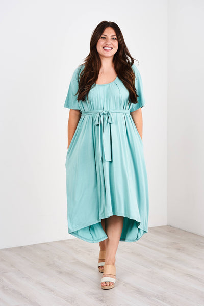 Latched Mama Flutter Sleeve Pleated Nursing Dress