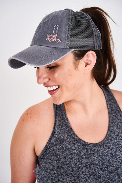 Latched Mama Embroidered Ponytail Cap