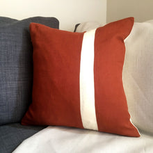 Load image into Gallery viewer, Red squirrel cushion stripe front on grey sofa