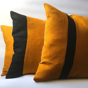 Bee cushion cover collection, three cushions stacked