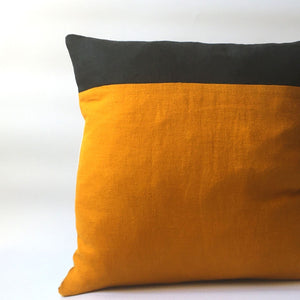 Colour block yellow and black cushion