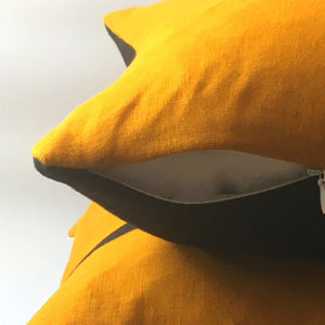 Bee cushion yellow front cover black bottom zip open