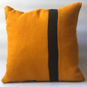 yellow cushion cover with black stripe