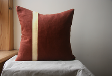 Load image into Gallery viewer, Red squirrel cushion stripe front