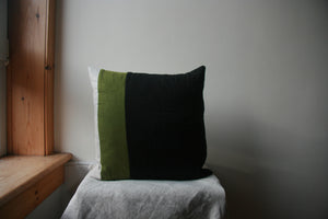 Striped cushion cover. From L-R: narrow natural linen stripe, thicker green stripe, wide black stripe panel.