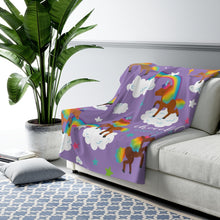 Load image into Gallery viewer, Signature Pattern (Purple) Sherpa Fleece Blanket