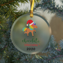 Load image into Gallery viewer, Holiday Unicorn Glass Ornament