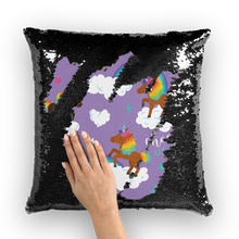 Load image into Gallery viewer, Signature Pattern (Purple) Sequin Cushion Cover