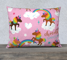 "Load image into Gallery viewer, Chocolate Unicorn Pillow Case 26"" x 20"""