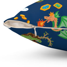 Load image into Gallery viewer, Chocolate Dragon (Navy) Spun Polyester Square Pillow