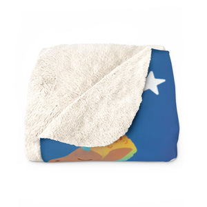Chocolate Unicorn (Male) Blue Cloudy Sherpa Fleece Blanket