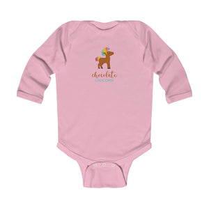 Chocolate Unicorn (Male) Infant Long Sleeve Bodysuit