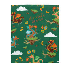 Load image into Gallery viewer, Chocolate Dragon (Green) Velveteen Plush Blanket