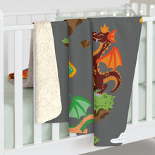 Load image into Gallery viewer, Chocolate Dragon (Gray) Sherpa Fleece Blanket