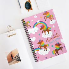 Load image into Gallery viewer, Chocolate Unicorn Spiral Notebook - Ruled Line (with logo)