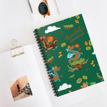 Load image into Gallery viewer, Chocolate Dragon (Green) Spiral Notebook - Ruled Line
