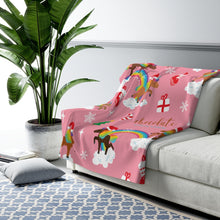 Load image into Gallery viewer, Holiday Unicorn Signature Pattern Sherpa Fleece Blanket