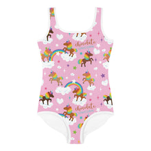Load image into Gallery viewer, Chocolate Unicorn Signature Print Girls Swimsuit