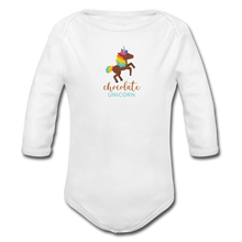 Load image into Gallery viewer, Chocolate Unicorn Organic Long Sleeve Baby Bodysuit - white