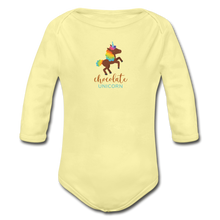 Load image into Gallery viewer, Chocolate Unicorn Organic Long Sleeve Baby Bodysuit - washed yellow