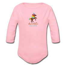 Load image into Gallery viewer, Chocolate Unicorn Organic Long Sleeve Baby Bodysuit - light pink