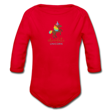 Load image into Gallery viewer, Chocolate Unicorn Organic Long Sleeve Baby Bodysuit - red