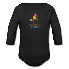 Load image into Gallery viewer, Chocolate Unicorn Organic Long Sleeve Baby Bodysuit - black