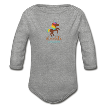 Load image into Gallery viewer, Chocolate Unicorn Organic Long Sleeve Baby Bodysuit - heather gray