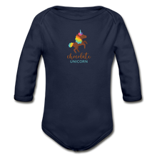 Load image into Gallery viewer, Chocolate Unicorn Organic Long Sleeve Baby Bodysuit - dark navy