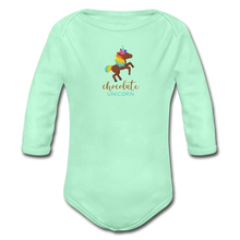 Load image into Gallery viewer, Chocolate Unicorn Organic Long Sleeve Baby Bodysuit - light mint
