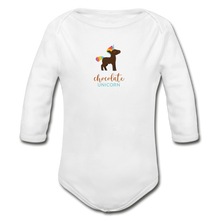 Load image into Gallery viewer, Chocolate Unicorn (Male) Organic Long Sleeve Baby Bodysuit - white