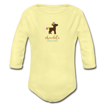 Load image into Gallery viewer, Chocolate Unicorn (Male) Organic Long Sleeve Baby Bodysuit - washed yellow