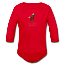 Load image into Gallery viewer, Chocolate Unicorn (Male) Organic Long Sleeve Baby Bodysuit - red