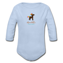 Load image into Gallery viewer, Chocolate Unicorn (Male) Organic Long Sleeve Baby Bodysuit - sky