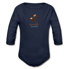 Load image into Gallery viewer, Chocolate Unicorn (Male) Organic Long Sleeve Baby Bodysuit - dark navy