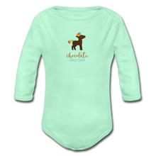 Load image into Gallery viewer, Chocolate Unicorn (Male) Organic Long Sleeve Baby Bodysuit - light mint