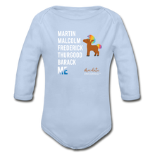Load image into Gallery viewer, THE LEGACY CONTINUES Organic Long Sleeve Baby Bodysuit - sky