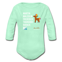 Load image into Gallery viewer, THE LEGACY CONTINUES Organic Long Sleeve Baby Bodysuit - light mint