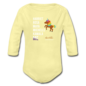 THE LEGACY CONTINUES Organic Long Sleeve Baby Bodysuit - washed yellow