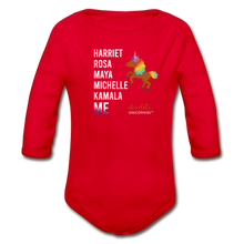 Load image into Gallery viewer, THE LEGACY CONTINUES Organic Long Sleeve Baby Bodysuit - red
