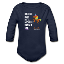 Load image into Gallery viewer, THE LEGACY CONTINUES Organic Long Sleeve Baby Bodysuit - dark navy