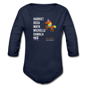 THE LEGACY CONTINUES Organic Long Sleeve Baby Bodysuit - dark navy
