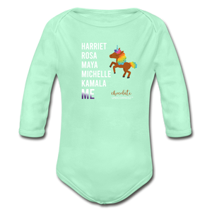 THE LEGACY CONTINUES Organic Long Sleeve Baby Bodysuit - light mint