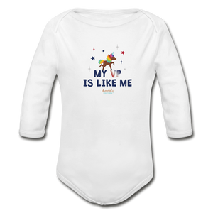 MY VP IS LIKE ME Organic Long Sleeve Baby Bodysuit - white