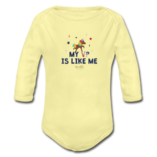 Load image into Gallery viewer, MY VP IS LIKE ME Organic Long Sleeve Baby Bodysuit - washed yellow
