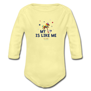MY VP IS LIKE ME Organic Long Sleeve Baby Bodysuit - washed yellow